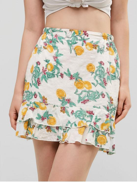 shop ZAFUL Orange Print Ruffle Skirt - MULTI S