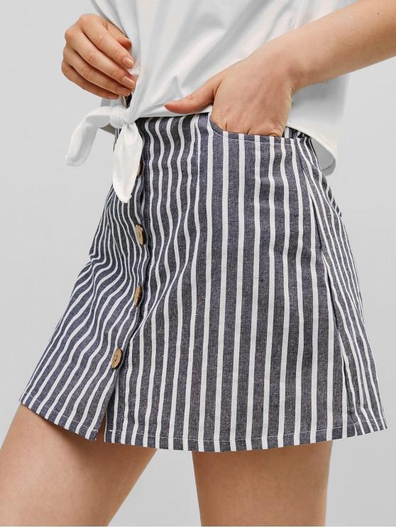 latest Striped Button Through Woven Mini Skirt - DARK SLATE BLUE XL