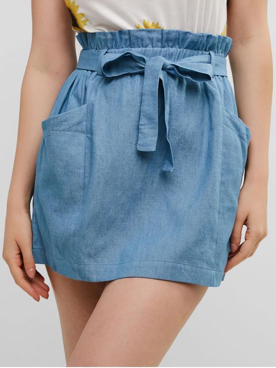 outfits ZAFUL Solid Color Belted Paperbag Skirt - DENIM BLUE M