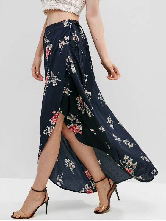 shops ZAFUL Floral Asymmetrical Wrap Maxi Skirt - MIDNIGHT BLUE S