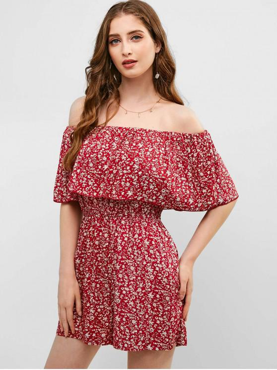 affordable ZAFUL Overlay Floral Off Shoulder Romper - RED WINE L