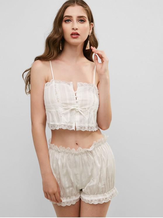 lady Drawstring Lace Panel Scalloped Pajama Set - WHITE ONE SIZE