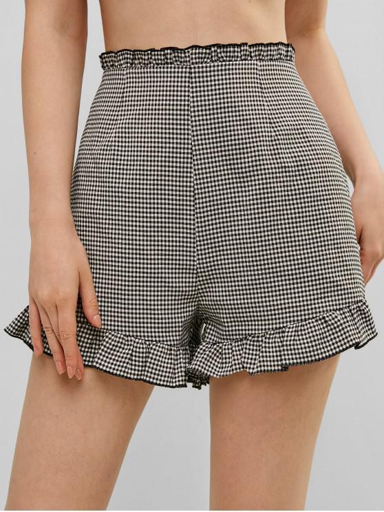 chic ZAFUL Plaid Ruffle Pocket Shorts - BLACK M