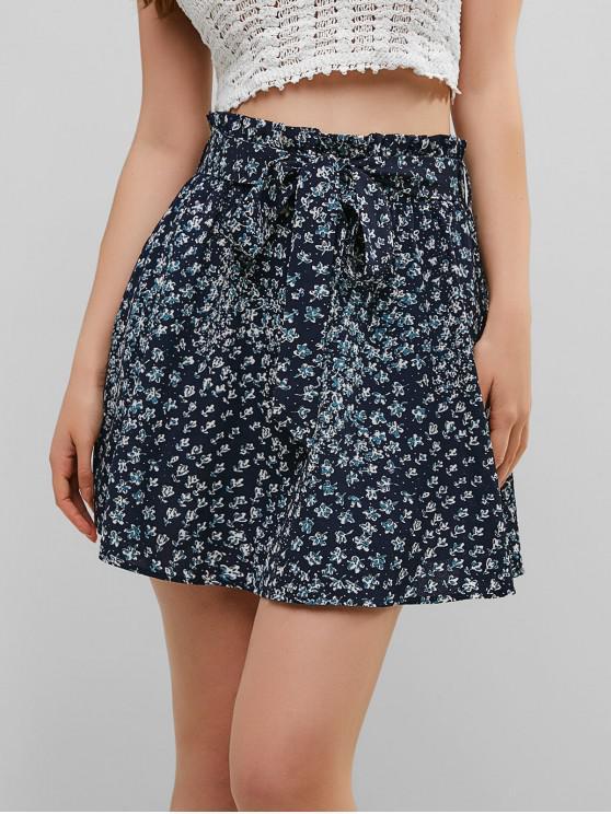 lady ZAFUL Tiny Floral Paper Bag Skirt - MIDNIGHT BLUE L