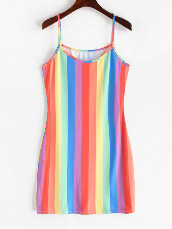 affordable Rainbow Striped Sheath Cami Dress - MULTI-A S