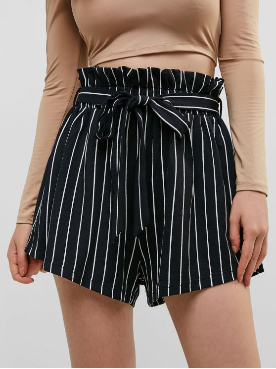 women ZAFUL Striped Belted Loose Paperbag Shorts - MIDNIGHT BLUE S