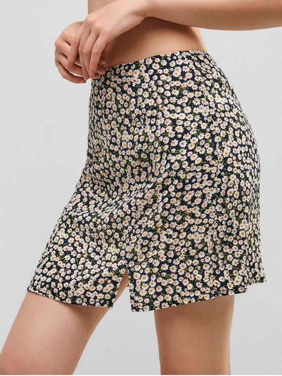 best ZAFUL Side Zipper Slit Floral Mini Skirt - DARK SLATE BLUE S