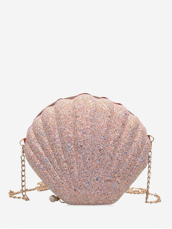 outfit Scallop Shape Hard Zipper Chain Shoulder Bag - PINK