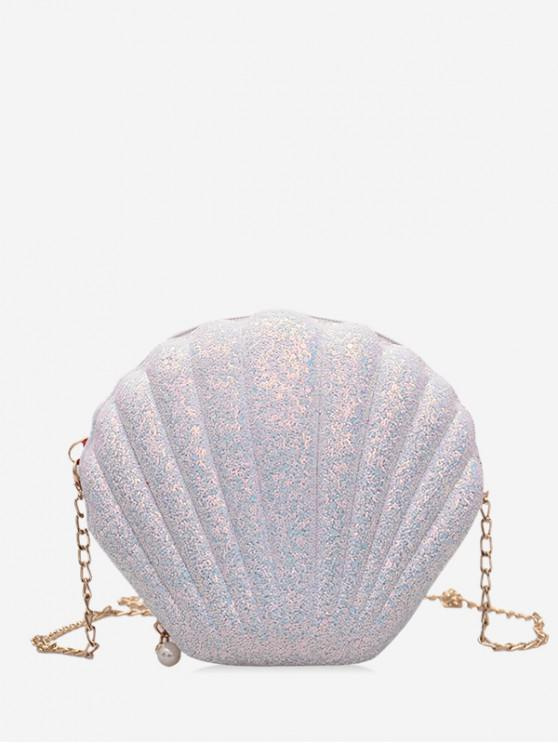 sale Scallop Shape Hard Zipper Chain Shoulder Bag - WHITE