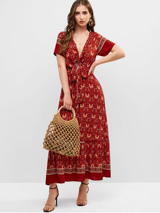 fashion Tie Front Floral Ruffles Maxi Dress - RED M