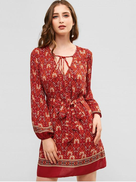 ladies ZAFUL Flower Plunging Cut Out Dress - CHERRY RED L