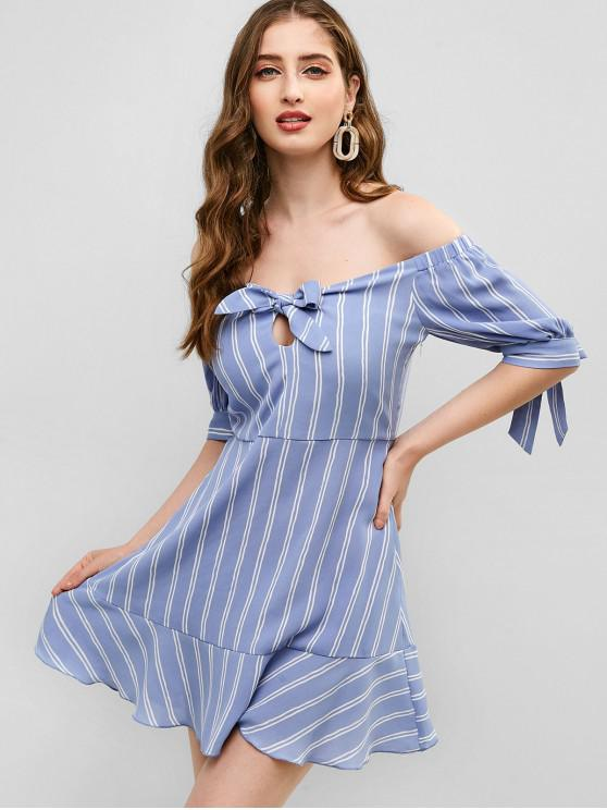 online ZAFUL Off Shoulder Knotted Striped Flare Dress - MULTI L