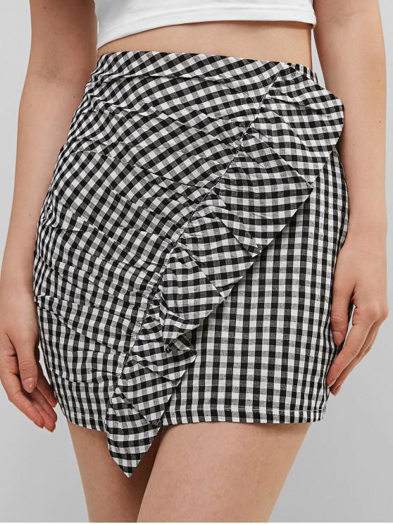 ZAFUL Ruffles Plaid mini falda - Negro L