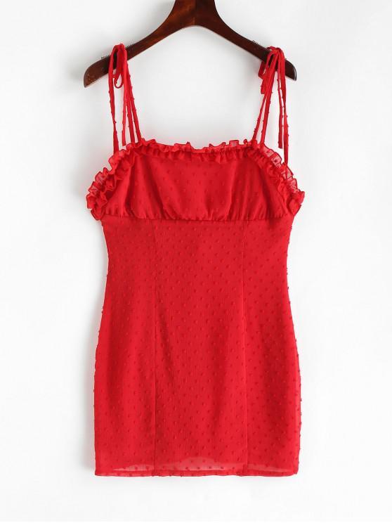Vestido de correas suizas de punto con volantes de volantes - Rojo Cereza L