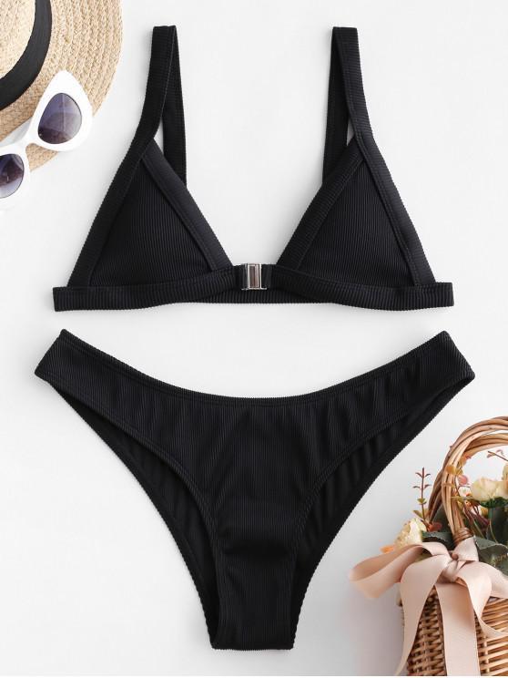 unique ZAFUL Ribbed Front Closure Bikini Set - BLACK S