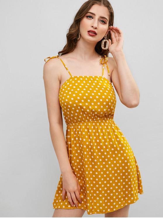 Zaful Tied Strap Bolinhas Mini Vestido Bee Yellow
