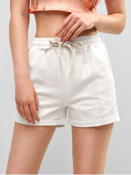 shop Drawstring Waist Plain Cuffed Shorts - WHITE XL