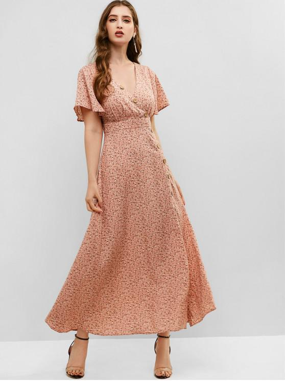 shops Floral Buttoned Slit Maxi Dress - PINK M