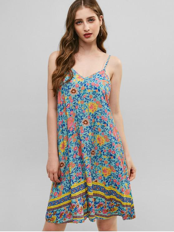 outfits ZAFUL Floral Cami Tunic Dress - MULTI S