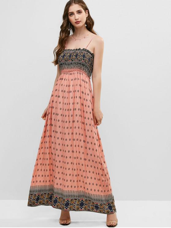 lady ZAFUL Printed Cami Smocked Maxi Dress - PIG PINK S