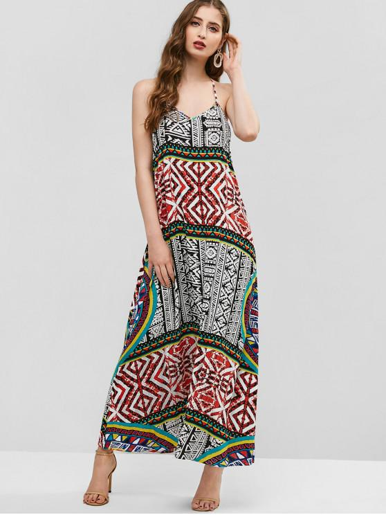 shop ZAFUL Bohemian Geometric Halter Backless Dress - MULTI-A L