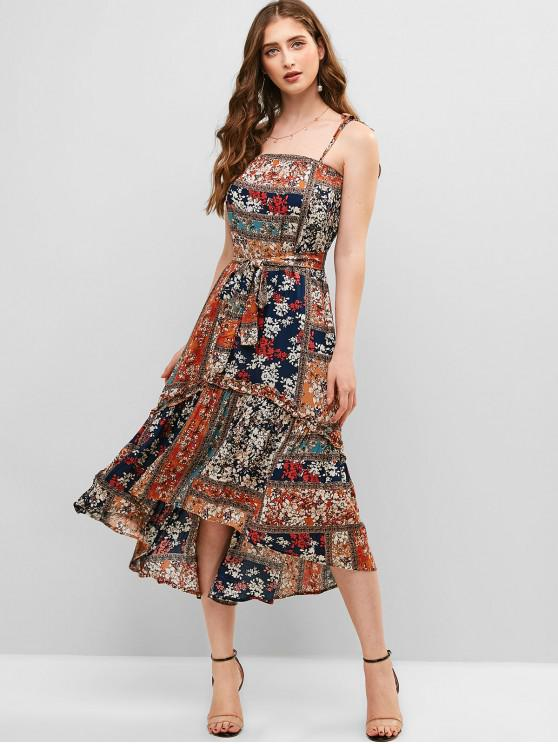 outfits Belted Floral Cami Midi Dress - MULTI S