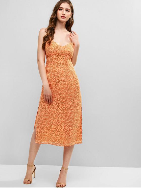 chic ZAFUL Speckled Tie Back Slit Dress - ORANGE M