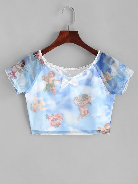 Tee-shirt à imprimé bowknot avec imprimé anges - Bleu Ciel Léger  L