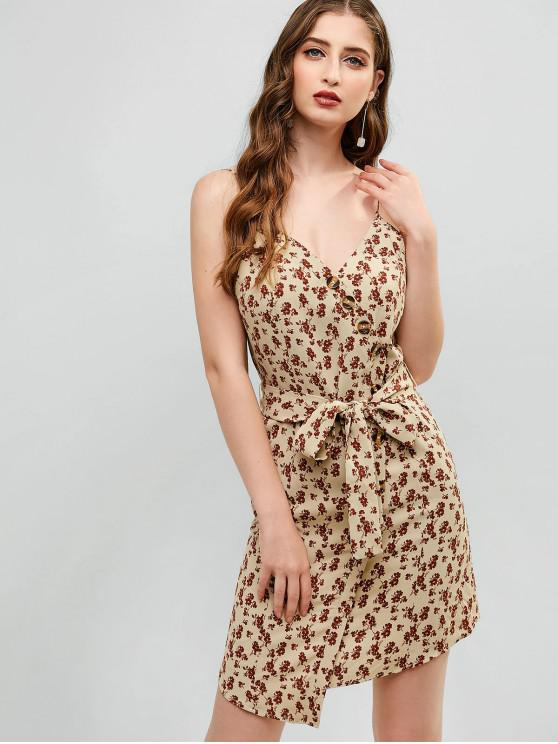 trendy ZAFUL Tiny Floral Button Asymmetrical Sundress - LIGHT KHAKI M