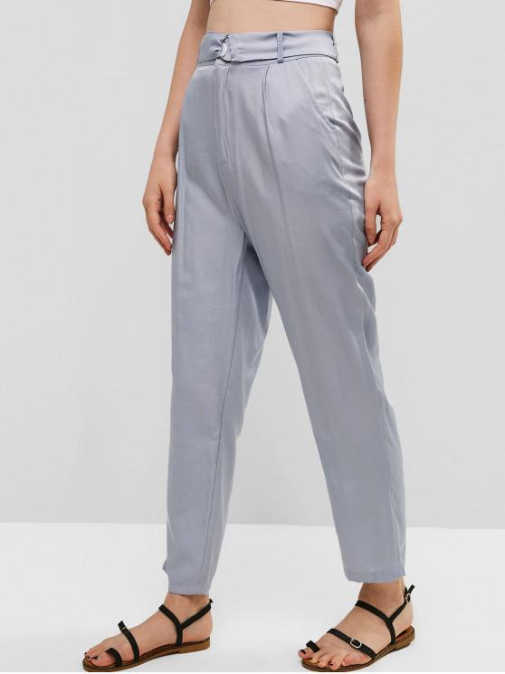 women's Pockets Belted High Waisted Straight Pants - BLUE GRAY M