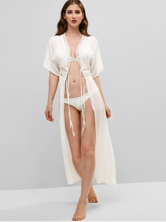 Tie Front Lace Panel Maxi Cover-up - Blanco XL