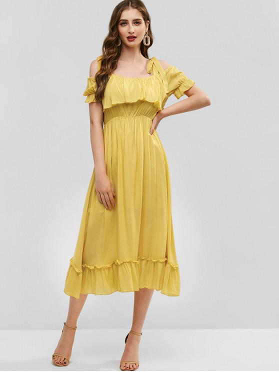 sale ZAFUL Tie Shoulder Cold Shoulder Flounce Dress - SUN YELLOW L
