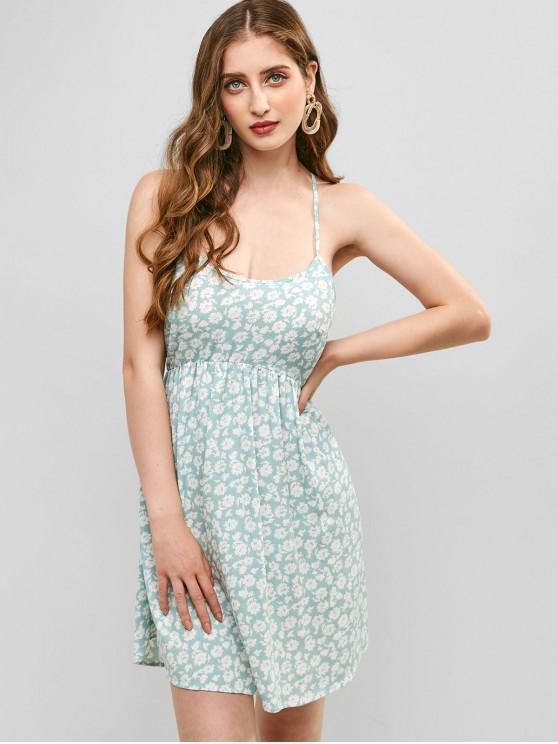 ZAFUL Mini vestido con cordones de flores - Lirio Azul Claro S