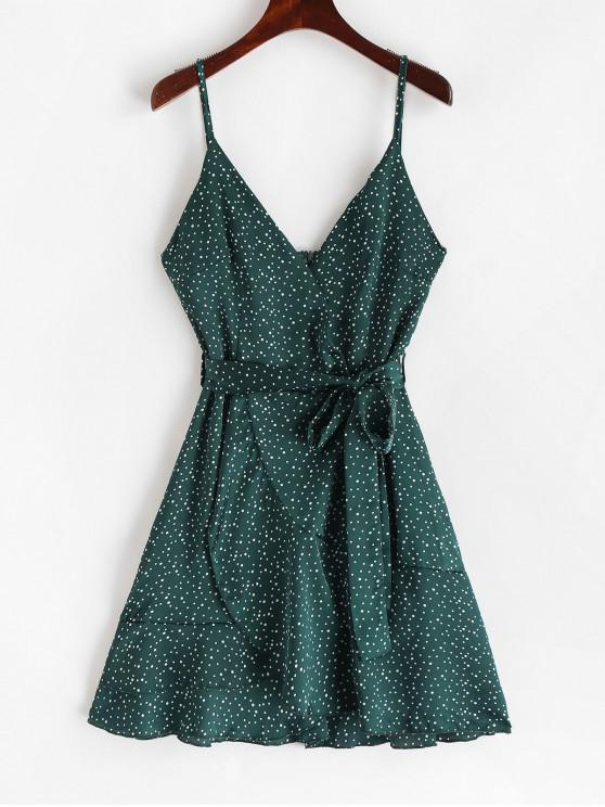 latest Polka Dot Belted Surplice Cami Dress - MEDIUM SEA GREEN S