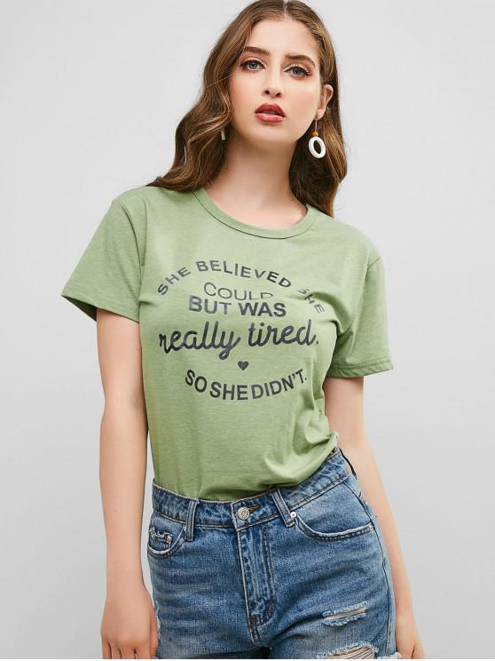shops Letter Graphic Heart Basic T Shirt - DARK SEA GREEN 2XL
