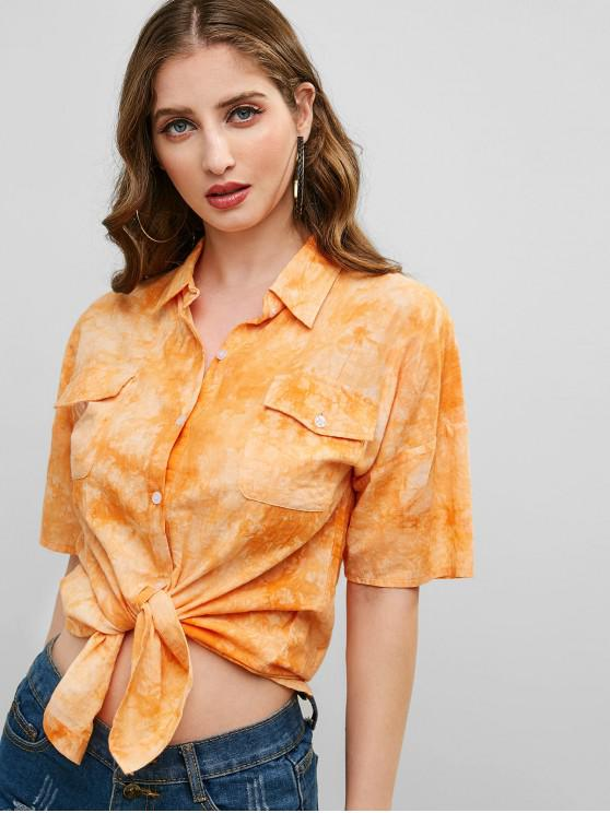 outfits Tie Dye Button Up Pockets Shirt - BASKET BALL ORANGE M