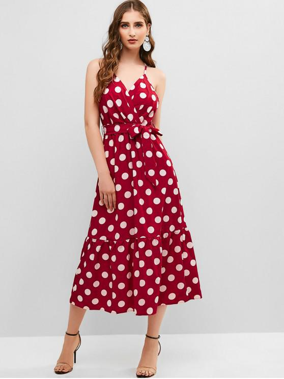 lady Belted Polka Dot Surplice Cami Dress - RED S