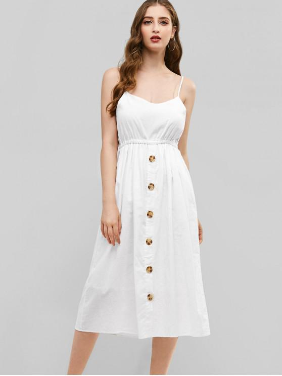 online Tied Back Button Up Cami Midi Dress - WHITE M