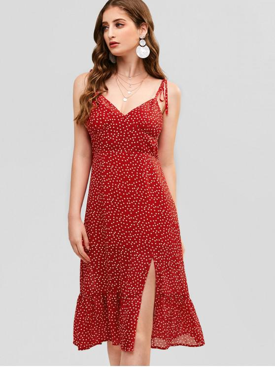 ZAFUL Tied Straps Dots Slit Cami Dress - Rojo Lava S