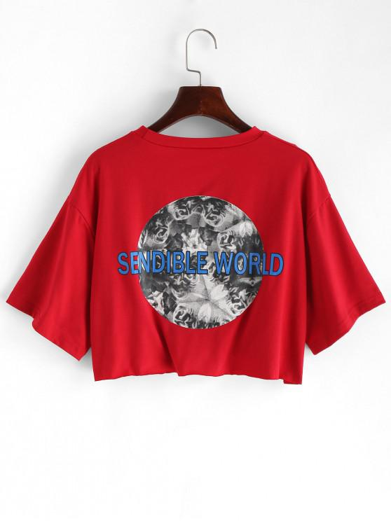 hot Letter Graphic Loose Crop Tee - CHESTNUT RED M