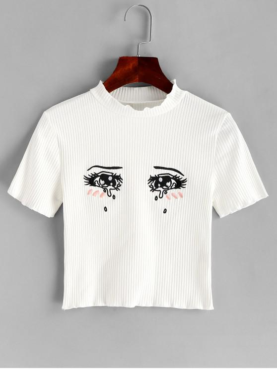 fashion Tearful Eyes Embroidered Ribbed Crop Tee - WHITE S