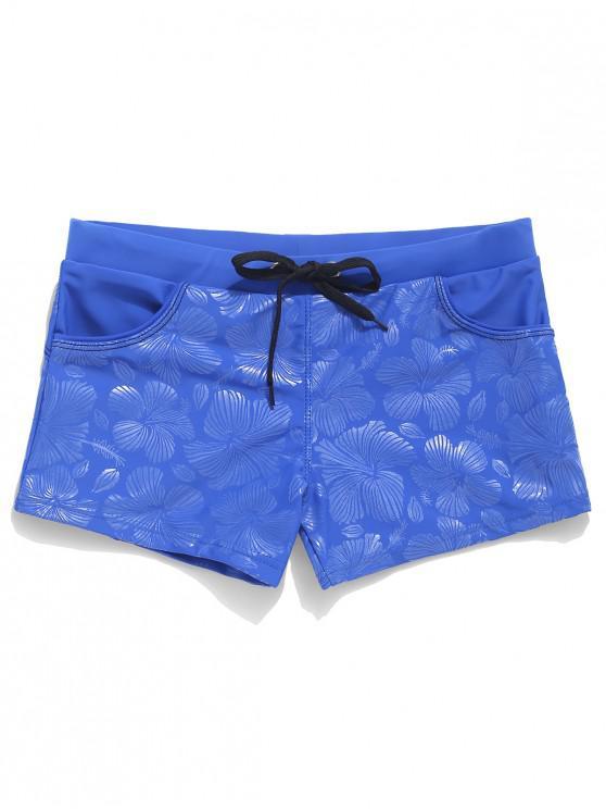 hot Flower Allover Print Swimming Trunks - DODGER BLUE 2XL