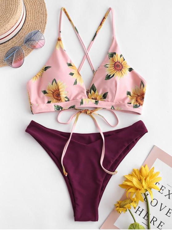 womens ZAFUL Sunflower Criss Cross Bikini Set - VELVET MAROON M