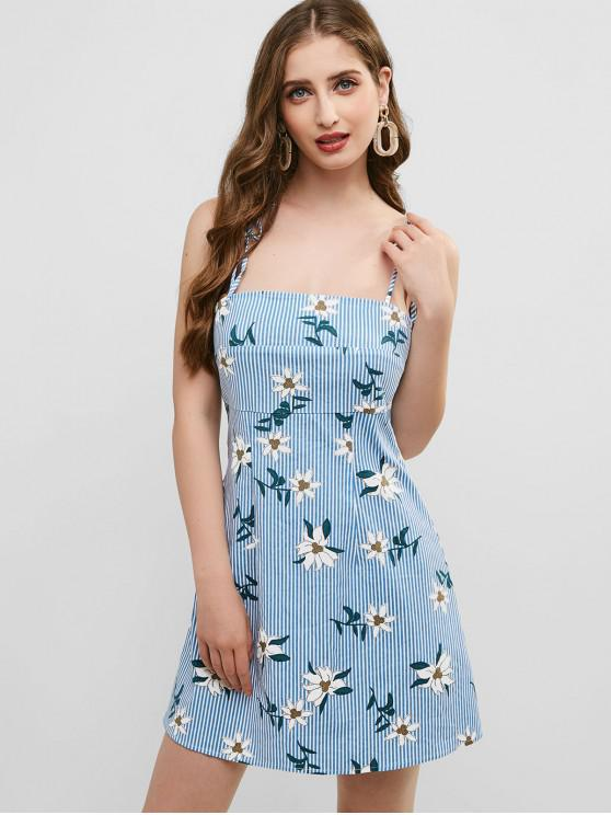 women ZAFUL Stripes Floral Cami Mini Dress - MULTI L