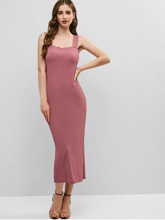 Vestido sin mangas con abertura acanalada y espalda acanalada - Lápiz Labial Rosa M