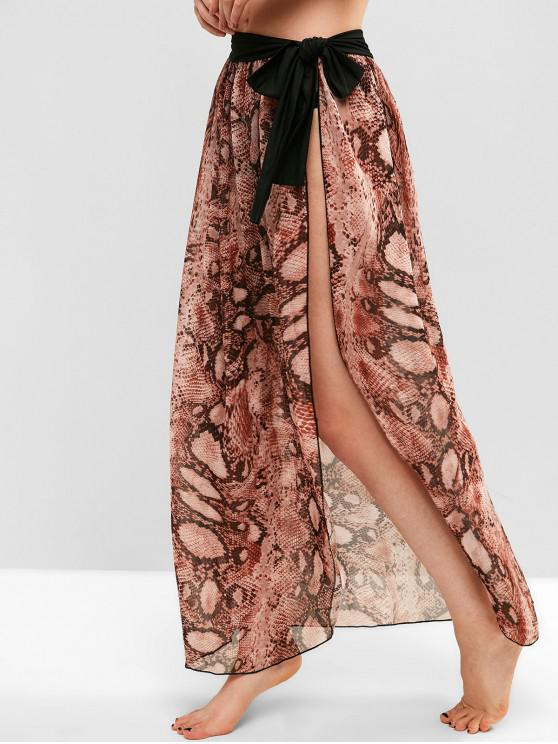 online Chiffon Snake Print Sarong Cover Up Skirt - MULTI-A ONE SIZE