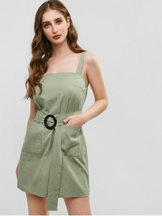 affordable ZAFUL Pocket Belted Sleeveless Dress - DARK SEA GREEN L