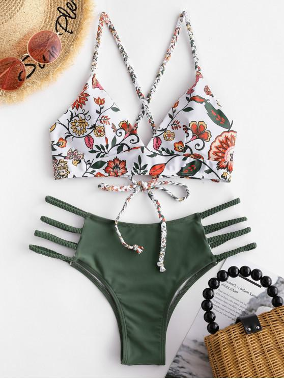 outfit ZAFUL Floral Braided Lattice Bikini Set - MULTI-C L