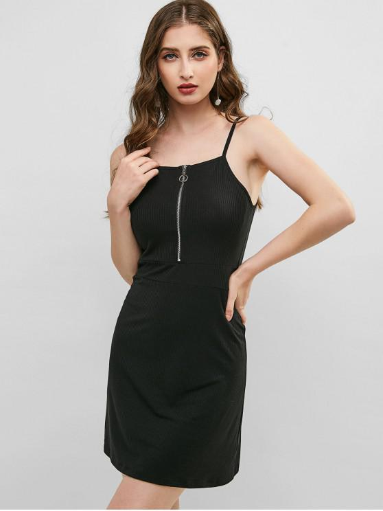 unique ZAFUL Ribbed Zipper Front Cami Dress - BLACK M