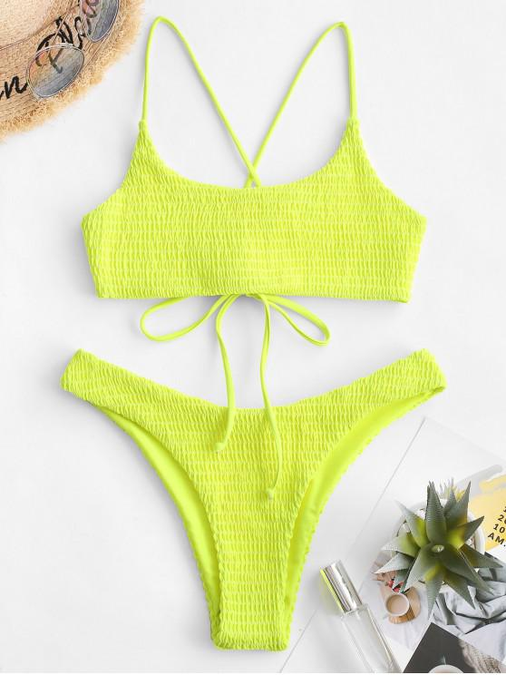 lady ZAFUL Crisscross Neon Smocked Bikini Set - TEA GREEN L